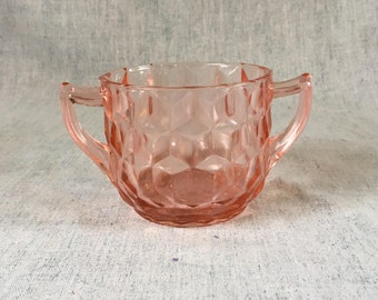 Vintage Jeannette Pink Depression Glass Cube Cubist Sugar Bowl