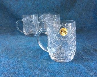 Vintage Princess House Fantasia Coffee Mugs, Poinsettia Pattern, Set of 3