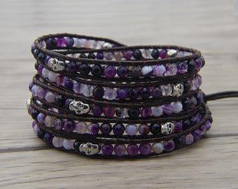 Skull beads bracelet purple Bead bracelet Purple Onyx agate bead bracelet YOGA bead bracelet leather wrap bracelet boho bracelet SL-0598