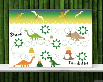 Dinosaur sticker chart, Printable potty training chart, Toilet training schedule, Boys reward chart. INSTANT DOWNLOAD, A4 and Letter size