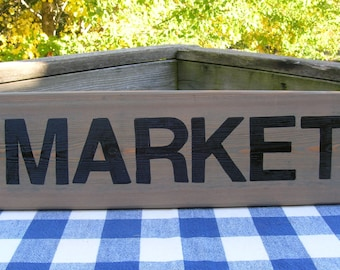 Market Wood Sign - Kitchen, Dining, Family Room Rustic Handpainted Sign - Wall Sign