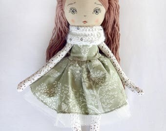 "Olivia, 13,5"" Handmade cloth doll, rag doll, fabric doll, heirloom doll, christmas gift, soft doll, nursery decor, nursery, gift for girl"