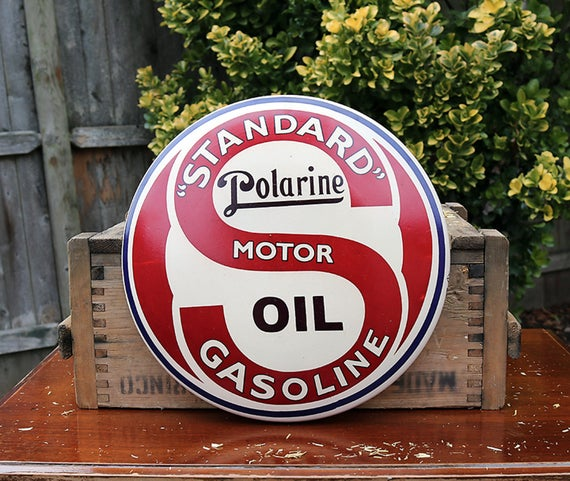 Standard Polarine Motor Oil Sign, Vintage Motor Oil Sign, Vintage Oil Advertisement, Vintage Metal Sign, Collectible Signs,Polarine Gas Sign