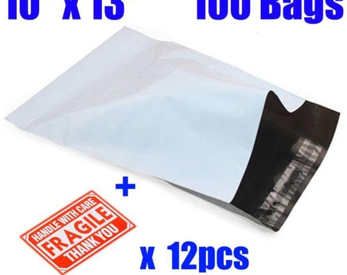 100 10x13 White-Gray Self Adhesive, Waterproof, Tear proof Poly Mailers (USA Shipper)
