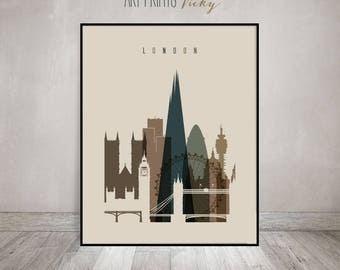 London Wall Art, London Skyline Print, Poster, Travel, United Kingdom  Cityscape,