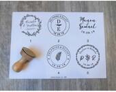 Tampon mariage personnalisé avec vos prénoms et initiales et date de mariage, tampon en bois vintage personnalisable, modèle HB