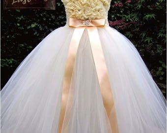 Beautiful Ivory & Gold Flower Girl Tutu Dress, Handmade Especially For you