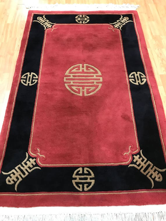 "3'8"" x 5'9"" Chinese Peking Oriental Rug - Full Pile - Hand Made - 100% Wool"