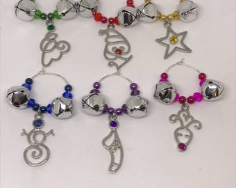 Set of 6 Christmas Holiday themed wine glass charms with Jingle Bells