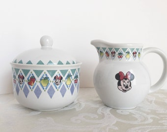 Vintage Disney Minnie Mouse Creamer U0026 Sugar Bowl Set Stoneware With Fruit  In Blue Diamond Design