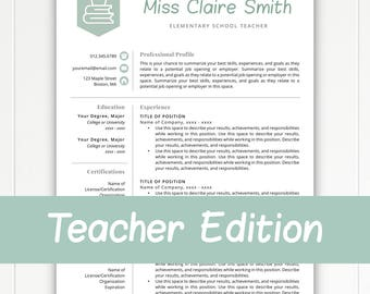 Teacher Resume Template For Word U0026 Pages, Teacher Template, Teacher CV,  Resume For  Resume Of A Teacher