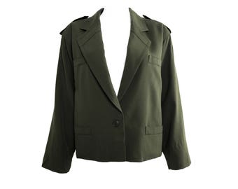 ESCADA Vintage Khaki Military Batwing Jacket Army Green Balenciaga Style 1980s