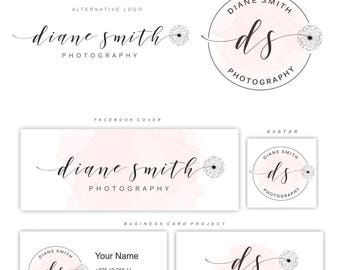 Premade Branding Kit, Dandelion logo, Photography logo, Blog logo, Watermark, Logo Design, Stamp, Branding kit, Logo package, Logo set 143
