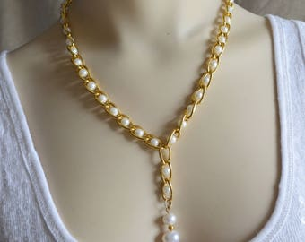 Freshwater Pearl Y Necklace, Pearl Necklace, Pearl Y Necklace, Lariat Necklace,Wedding Lariat Necklace