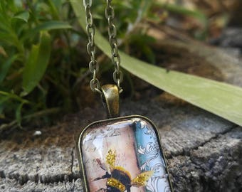 Golden Bumble Bee necklace, victorian, glitter necklace, bee necklace, domino necklace, thinking of you, happy birthday, just because