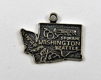 Map Outline of Washington State Sterling Silver Charm or Pendant.