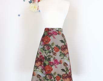 "1990s Skirt - Floral A-line Midi Skirt - Size Small Medium - 28"" Waist - Summer Spring Fall - Warm Colours - Romantic Tapestry Style Print"