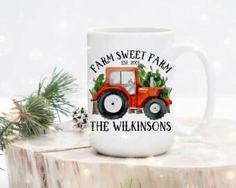 Farm Mug for Him - Custom Farmer Mug - Farm Sweet Farm Mug - Gift for Farmer - Family Farmer Mug - Red Truck - Christmas Gift for Him