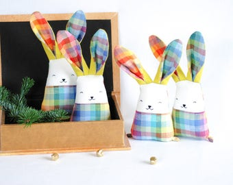 Rainbow bunny rabbit - colorful baby bunny toy.  Baby gift box, stuffed animal toys, Stuffed colorful toys, rainbow tartan, Christmas kids