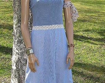 Blue-striped summer dress. Redesign