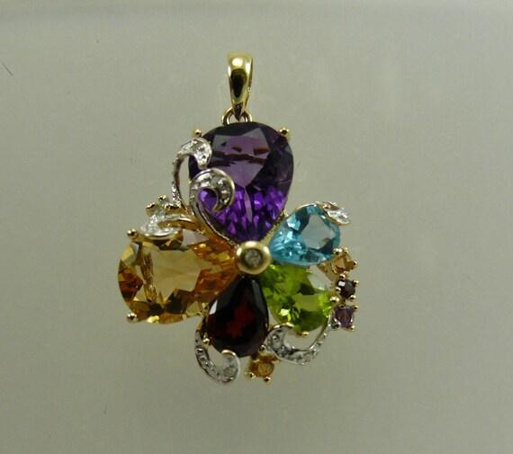 Multi-Color 7.18ct Gemstone Pendant, 14K Yellow Gold & Diamonds 0.05ct