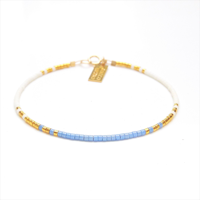 Delicate Thin Bracelet Something Blue Bracelet Blue Gold
