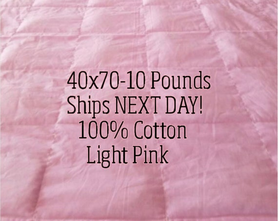 Weighted Blanket, 10 Pound, Light Pink, 40x70, READY TO SHIP, Twin Size, Adult Weighted Blanket, Next Business Day To Ship