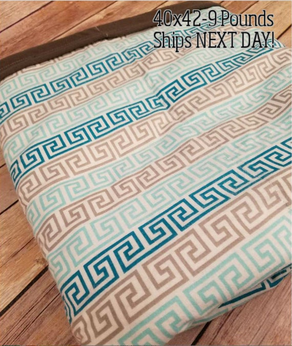Greek, 9 Pound, WEIGHTED BLANKET, Ready To Ship, 9 pounds, 40x42 for Autism, Sensory, ADHD