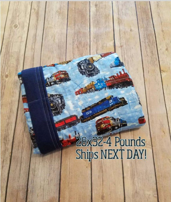 Train, 4 Pound, WEIGHTED BLANKET, Ready To Ship, 4 pounds, 28x32 for Autism, Sensory, ADHD, Calming, Anxiety,