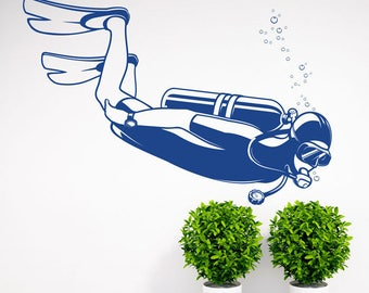 Scuba Diving Wall Decal   Nautical Office Decor Idea   Scuba Fire  Extinguisher Decal   Wall