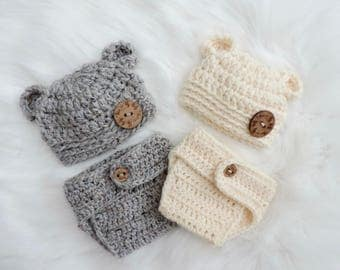 PICK YOUR COLOR - Acrylic - Diaper Cover Set, Baby Bear Hat, Newborn Bear Hat, Photo shoot Prop, Baby Girl Hat, Crochet Bear Hat