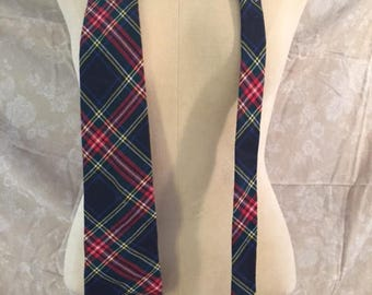 Vintage Blue Plaid Tie