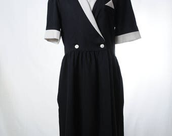 Vintage black and white secretary midi dress