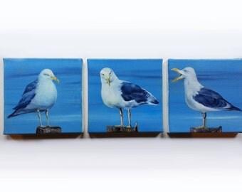 Gulls Seagulls Sea Tritychon Oilpainting
