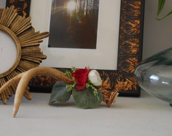 Single Genuine Deer Antler with White and Magenta Peonies and Wildflower Accents Home Decor Table Decorative Accent