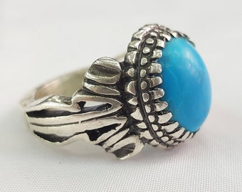 Silver Ring - Turquoise Ring - Hand Made Ring - Turkish Ring - Turkish Jewelry - Men Ring - Ring Size 8 US