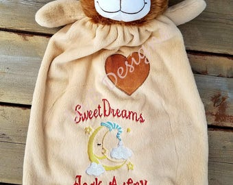 Personalized Lion Blanket • Lion Lovey • Snuggle blanket • Stuffed Animal Blanket • Baby Gift • Baby Blanket