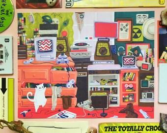 Miles's Room - Art Print, Digital Print, Illustration, Bedroom, Vintage, Memorabilia