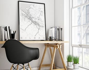 Map of Bilbao, Spain - Fits in IKEA Frame - Map ART - Bilbao Poster  - Office Decor - Bilbao Travel Poster - Travel Decor - 50x70 Art Print