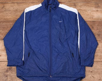 "Mens Vintage 1990s Nike Blue Spell Out Quilt Lined Jacket XL 48"" R7172"