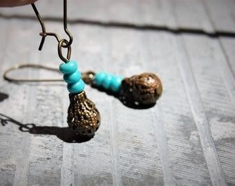 Bohemian Teardrop Earrings, Tribal Earrings, Turquoise Earrings, Dangle Earrings, Boho Chic Jewelry, Ethnic earrings, Hippie Gift for her