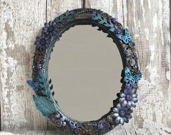 Oval mirror, Gothic mirror, Butterfly mirror, Flower mirror, Altered mirror, Fantasy mirror, Life is simple, Mirror, Ooak mirror.