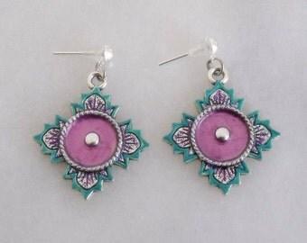 Southwestern Post Earrings, Turquoise Hand Painted Earrings, Western Stud Earrings, Western Jewelry, Southwestern Jewelry, Turquoise Earring