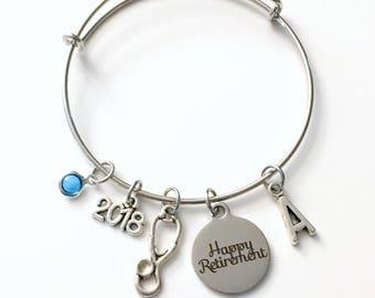 Gift for Hospital Retirement, Medical Stethoscope Charm Bracelet Jewelry Bangle Coworker initial women woman Birthstone Veterinarian 2018