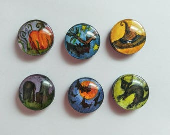 Halloween Magnets, Hand Painted, Set of 6