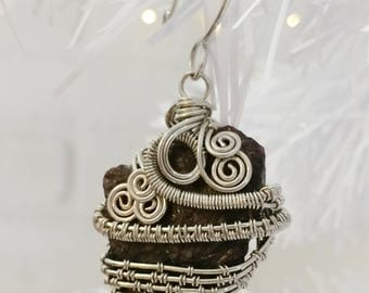 Wire Wrapped Rough Natural Pyrope Garnet Pendant, Ornament, Home Decoration