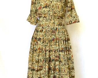 Vintage 1950s Phoenician Print Dress