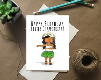 Guam Card, Chamorrita Birthday Card, Little Chamorrita Girl, Guam Birthday Card
