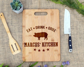 Eat Drink Grill Cutting Board, Custom Cutting Board, Personalized, Grill Master, Grilling, BBQ, Gift for Dad, Gift for him, Chef, Pig, Gift