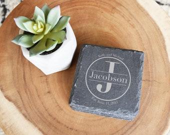 Personalized Slate Coaster Set, Laser Engraved, Set of 4, Custom Coasters, Slate, Last Name w/ First Names & Established, Wedding, Shower